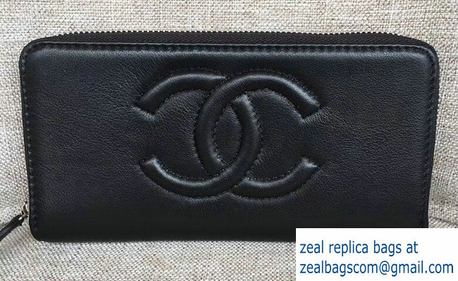 Chanel CC Logo Zipped Wallet Black