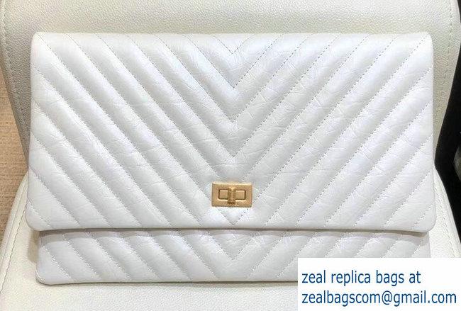 75150de3ef71 Chanel Chevron 2.55 Reissue Aged Calfskin Clutch Bag white A91795 2018