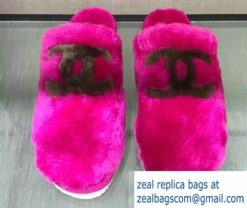Chanel Shearling Fur CC Logo Slipper Sandals Fuchsia 2018