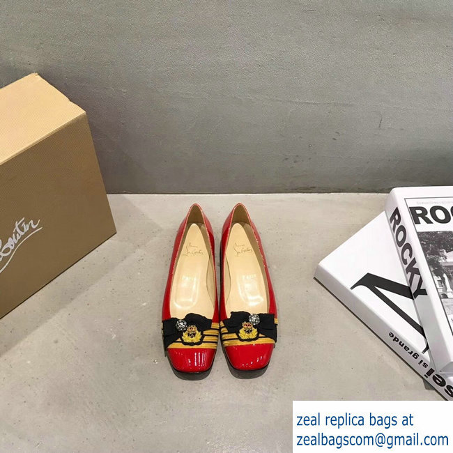 Christian Louboutin Stripe Flats Patent red