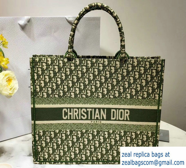 a278dd24fd9e Dior Book Tote Bag In Embroidered Dior Oblique Canvas Green 2018 ...
