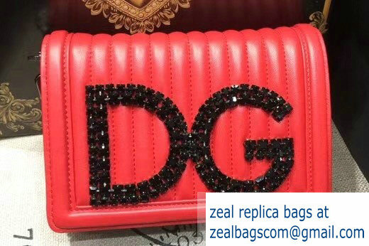 Dolce & Gabbana DG Girls Shoulder Bag In Quilted Nappa Leather Red 2018