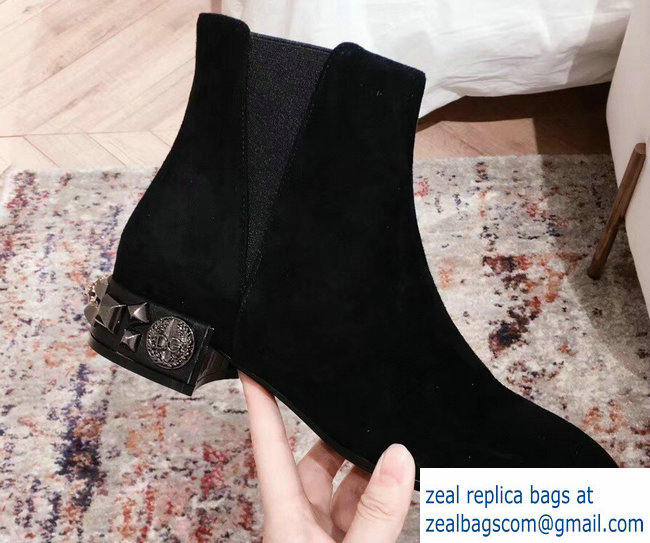 Dolce & Gabbana Embroidered Heel 3cm Chelsea Ankle Boots Suede Black 2018
