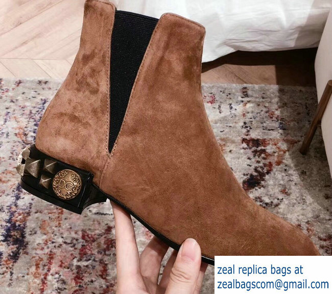 Dolce & Gabbana Embroidered Heel 3cm Chelsea Ankle Boots Suede Brown 2018