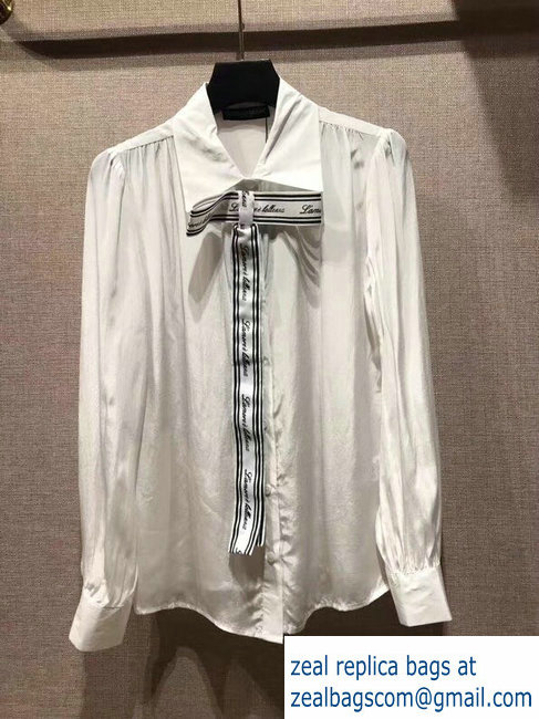 Dolce & Gabbana white silk shirt with ribbons