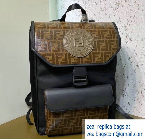 Fendi Glazed Fabric With Brown FF Motif Backpack 2019