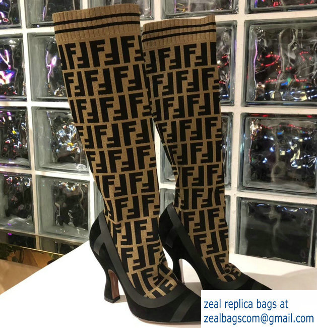 Fendi Heel 10.5cm All-Over FF Stretch Fabric Stocking Boots 2018