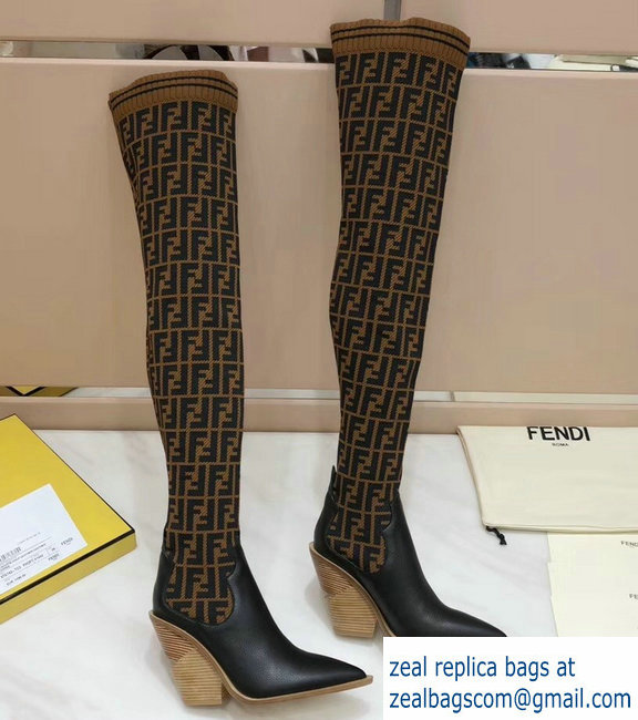 Fendi Heel 10cm All-Over FF Stretch Fabric Stocking Thigh-High Boots Coffee 2018