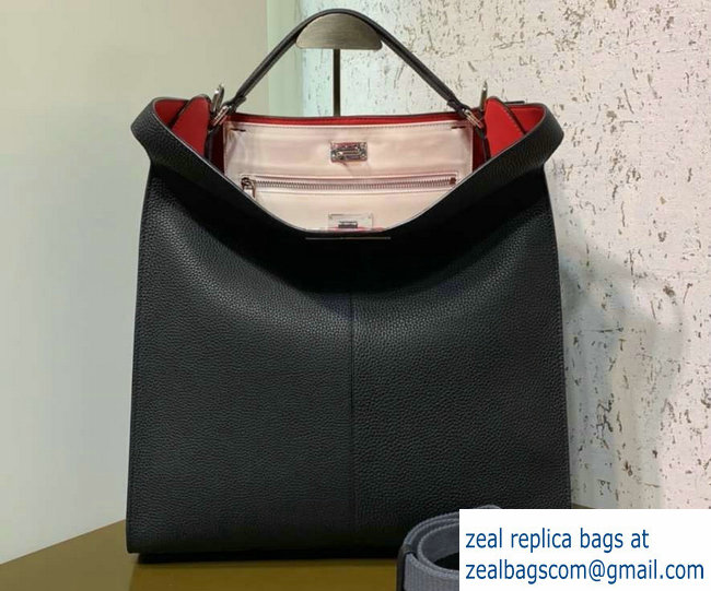 2d81823ed8ca Fendi Roman Leather Peekaboo X-Lite Fit Tote Bag Black 2019   www ...