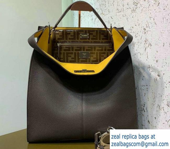 3089f0b38a Fendi Roman Leather Peekaboo X-Lite Fit Tote Bag Coffee 2019   www ...