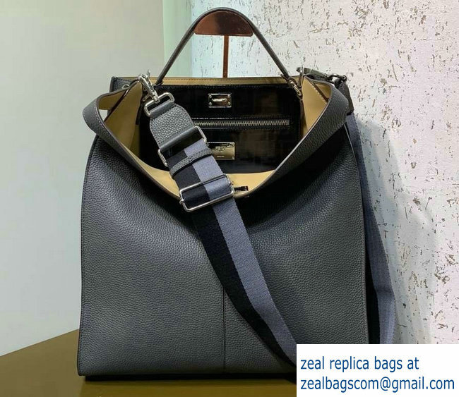 8f6721658a Fendi Roman Leather Peekaboo X-Lite Fit Tote Bag Gray 2019   www ...