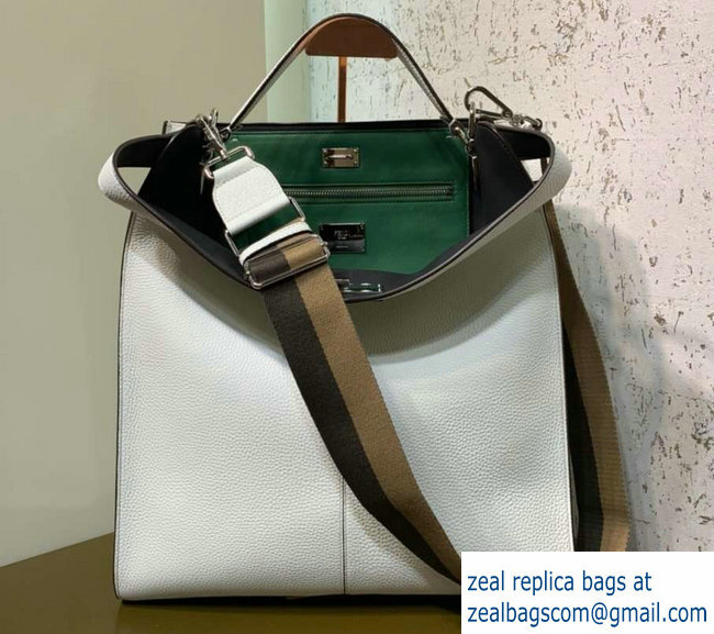 7a9f2c25cc0a Fendi Roman Leather Peekaboo X-Lite Fit Tote Bag White 2019   www ...