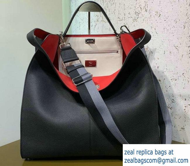 36cb52b74d Fendi Roman Leather Peekaboo X-Lite Regular Tote Bag Black 2019 ...