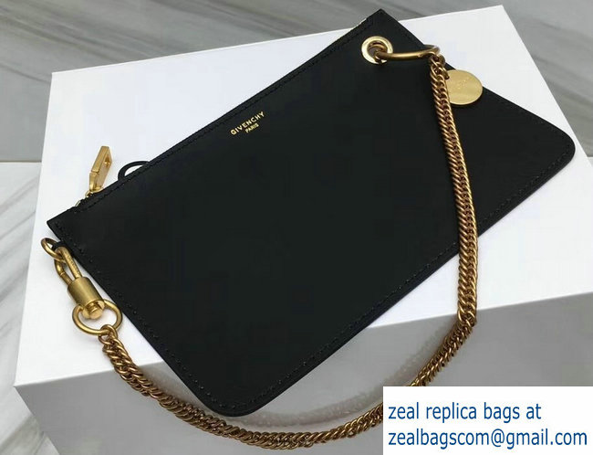 4deabfcdda8d Givench GV Flat Zippered Pouch Bag In Smooth Leather Black Gold2018