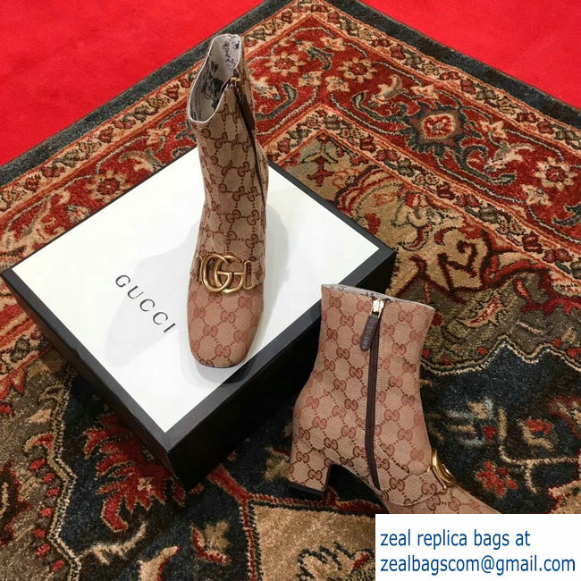 Gucci GG Canvas Ankle Boots 525332 Beige with Double G 2018   www ... a2df983a49e