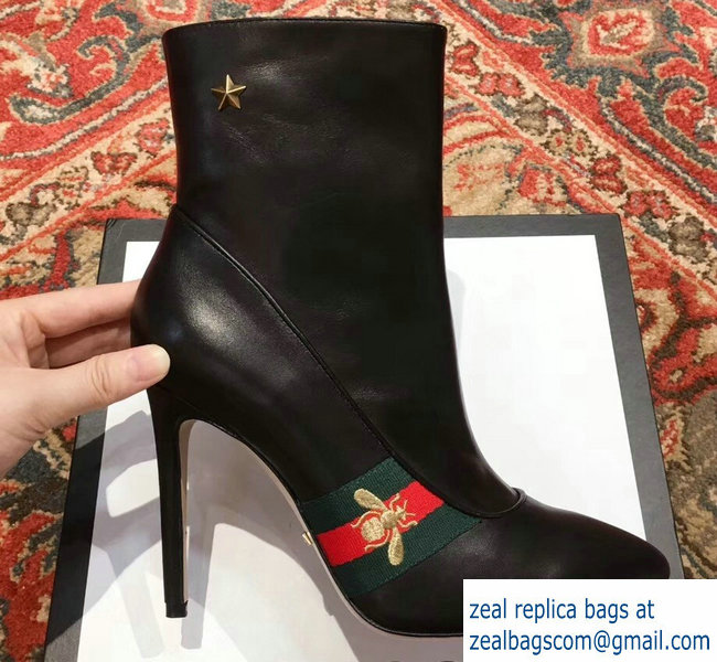 Gucci Heel 9cm Web Bee and Star Boots Black 2018