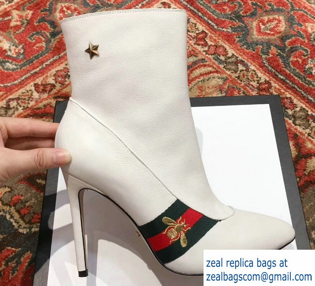 Gucci Heel 9cm Web Bee and Star Boots White 2018