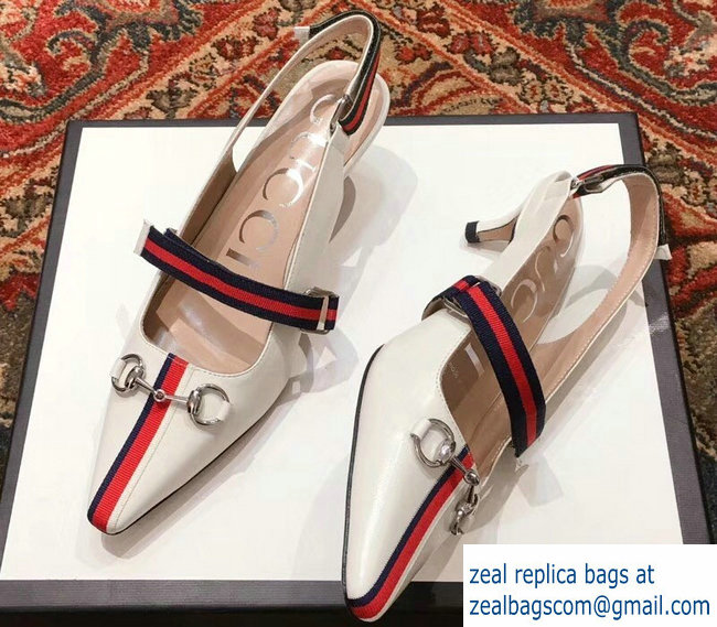 Gucci Horsebit and Sylvie Web Mid-heel Pumps 549616 White 2018