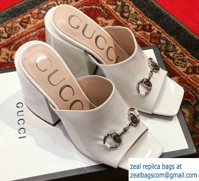 a1a08f7832db92 Gucci Patent Leather Horsebit 10cm High-Heel Slides 536773 White 2019