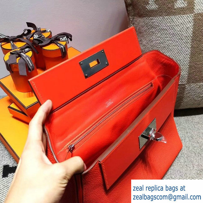 Hermes Kelly 24 24 Bag In Swift and Togo Leather Cerise With Silver Hardware  2018 8d4511aef12e5