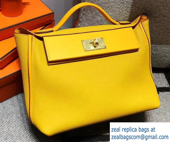 Hermes Kelly 24 24 Bag In Swift and Togo Leather Yellow With Gold Hardware  2018 64924c2a275ea