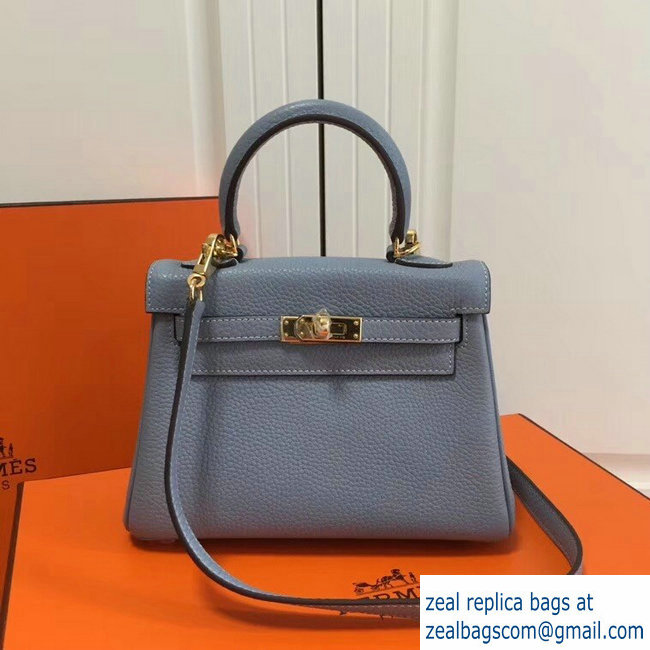 Hermes mini kelly 20 bag light blue in clemence leather with golden hardware