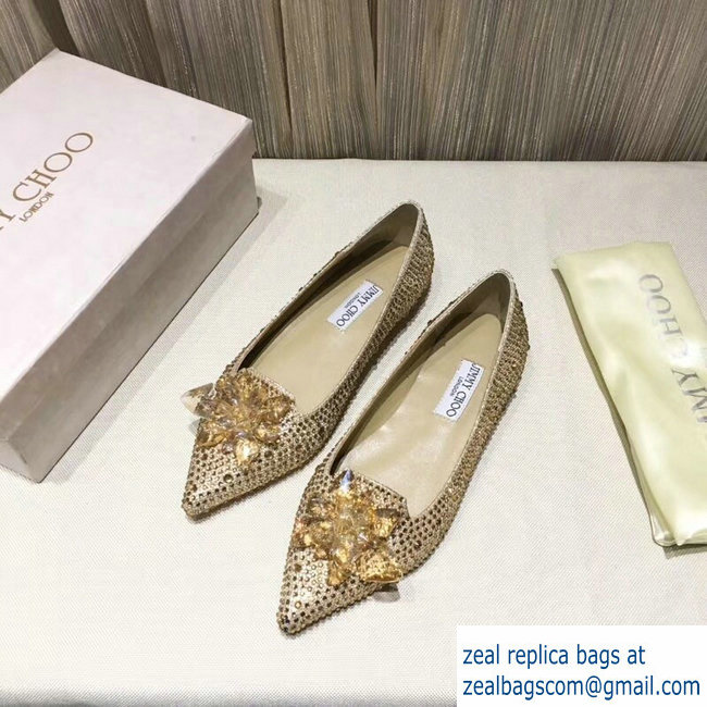 JIMMY CHOO CRYSTAL COVERED POINTY TOE FLATS GOLD