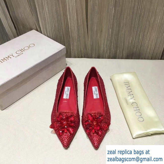 JIMMY CHOO CRYSTAL COVERED POINTY TOE FLATS RED