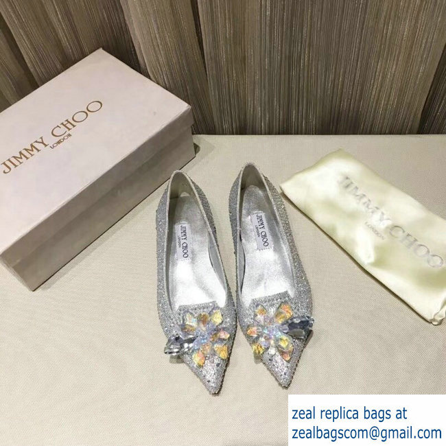 JIMMY CHOO CRYSTAL COVERED POINTY TOE FLATS silver