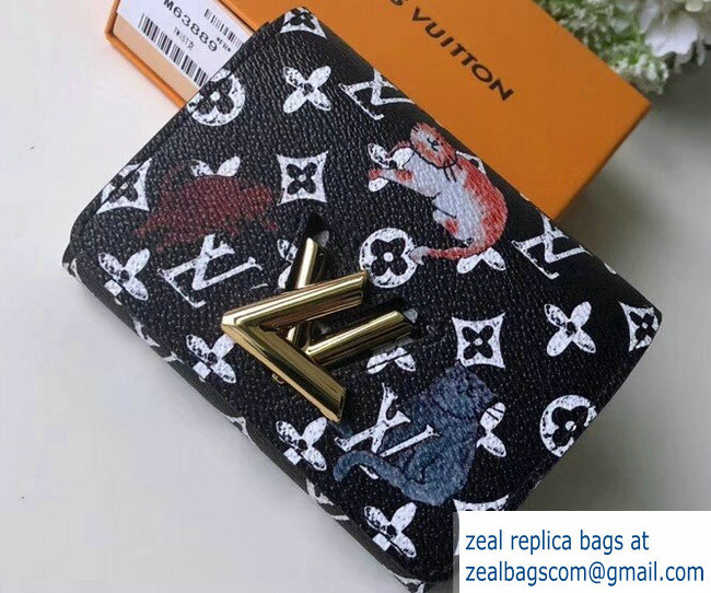 Louis Vuitton Catogram Monogram Canvas Twist Compact Wallet M63889 Black/White 2018