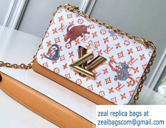 Louis Vuitton Catogram Monogram Canvas Twist MM Bag M44408 White/Apricot 2018