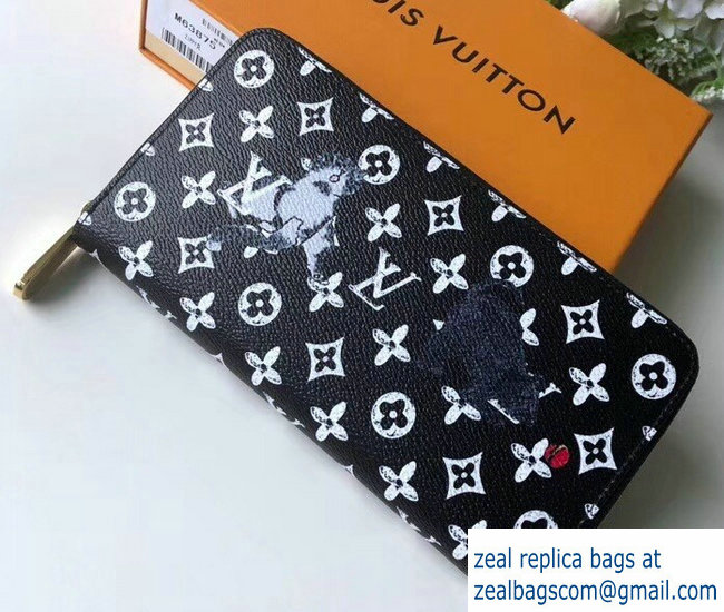 Louis Vuitton Catogram Monogram Canvas Zippy Wallet M63875 Black/White 2018