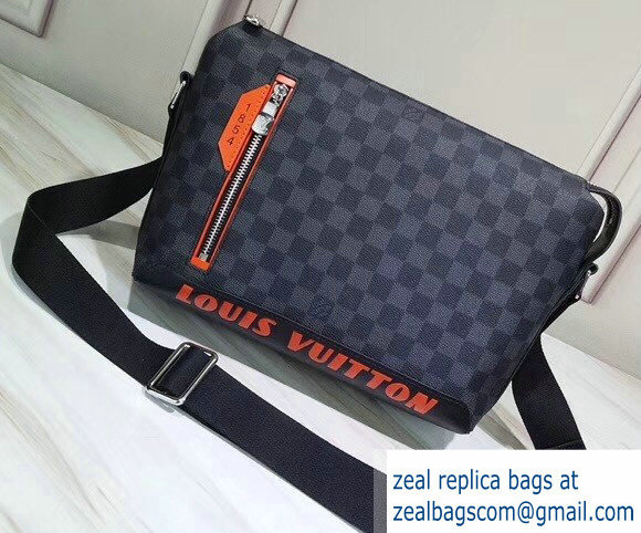Louis Vuitton Damier Cobalt Canvas Discovery Messenger PM Bag Orange Logo 2019
