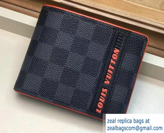 Louis Vuitton Damier Cobalt Canvas Multiple Wallet Orange Logo 2019