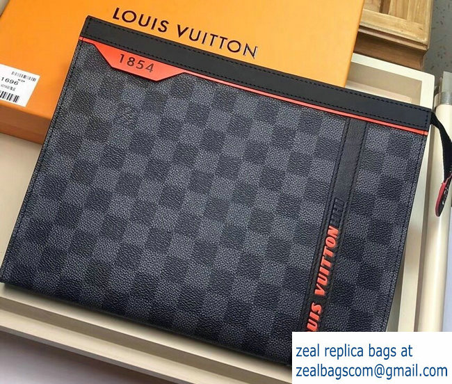 Louis Vuitton Damier Cobalt Canvas Pochette Voyage MM Bag Orange Logo 2019