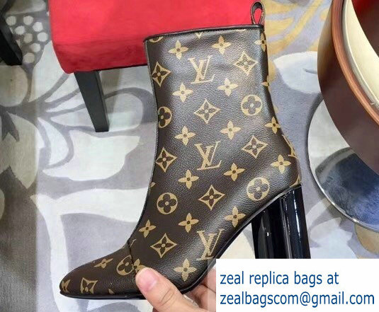 Louis Vuitton Heel 8cm Silhouette Ankle Boots Monogram Canvas 2018