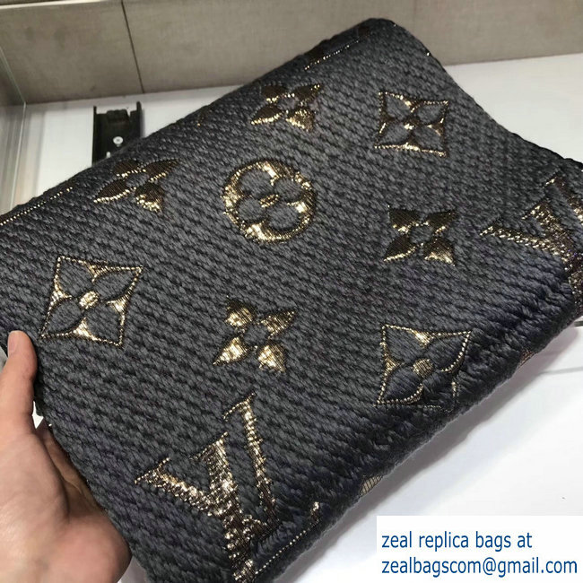 Louis Vuitton Logomania Shine Scarf Dark Gray/Gold 2018