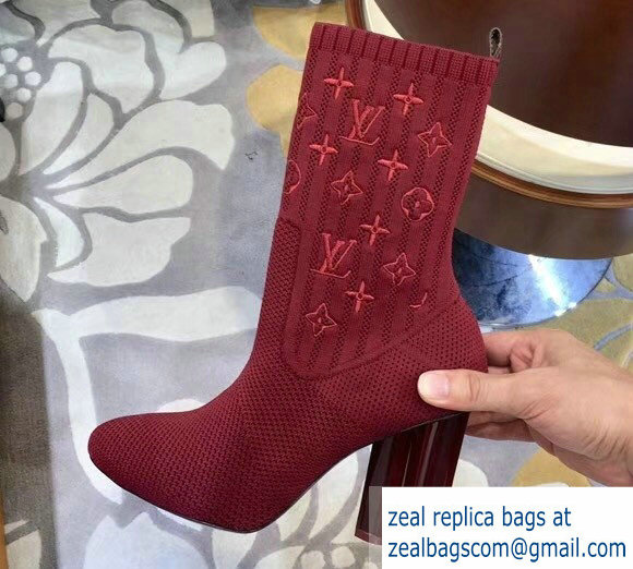 a894bd61a972 Louis Vuitton Monogram-embroidered Fabric Silhouette Ankle Boots Burgundy  2018