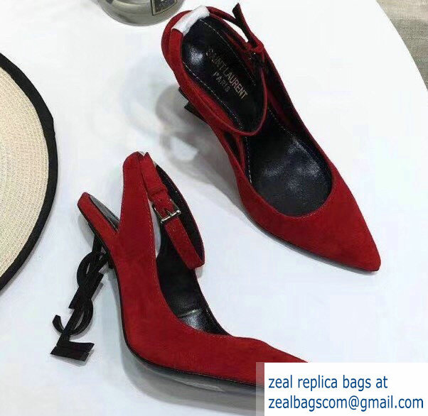 Saint Laurent Heel 11cm Opyum Slingback Pumps In Suede Red With Black YSL Signature With Strap 2019
