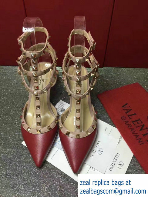 VALENTINO ROCKSTUD ANKLE STRAP SHEEPSKIN PUMP 6.5CM Dark Red