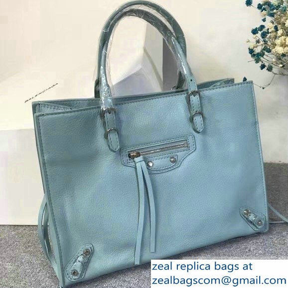 Balenciaga A6 Papier Zip Around Bag Light Blue