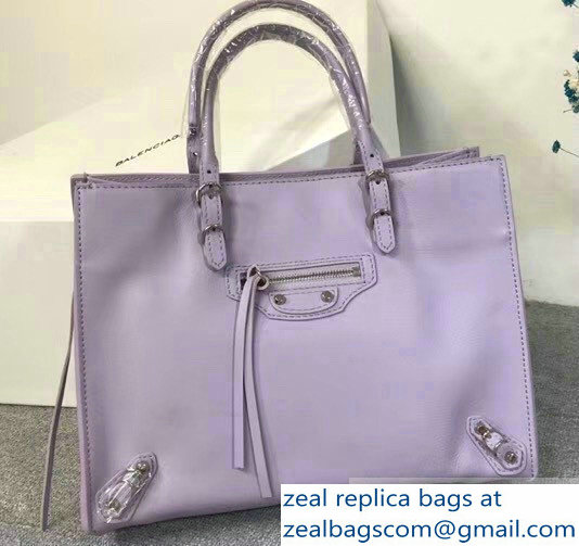 Balenciaga A6 Papier Zip Around Bag Lilac