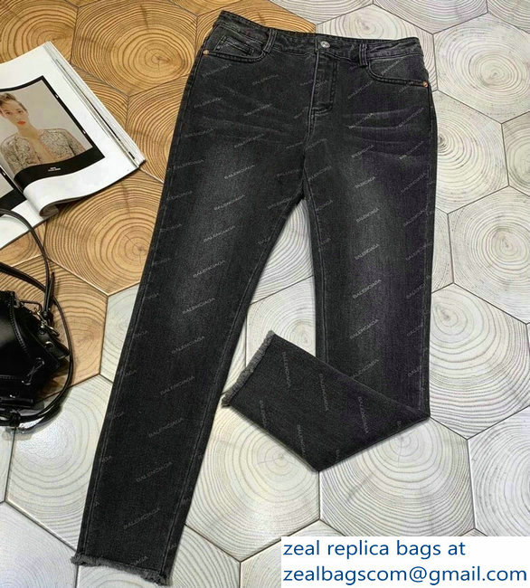 Balenciaga All Over Logo Denim Jeans Pants 2019