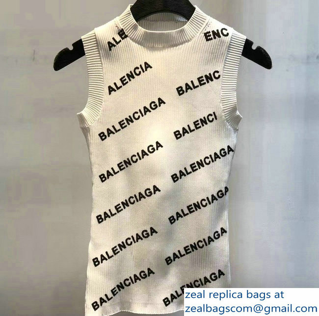 Balenciaga All Over Logo Tank Top White 2019