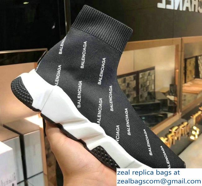 Balenciaga Knit Sock Speed Trainers Sneakers All Over Logo Black 2019
