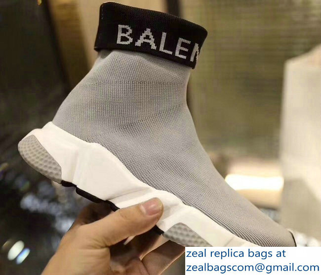 Balenciaga Knit Sock Speed Trainers Sneakers Cuffed Logo Gray 2019