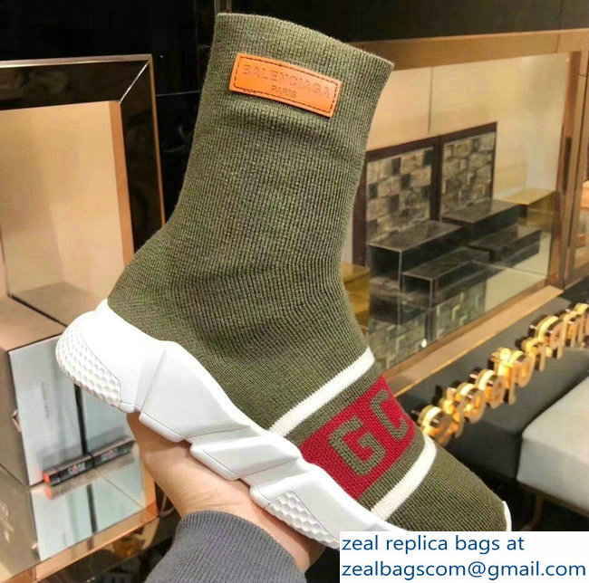 Balenciaga Knit Sock Speed Trainers Sneakers GCDS Army Green 2019
