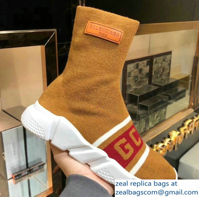Balenciaga Knit Sock Speed Trainers Sneakers GCDS Brown 2019