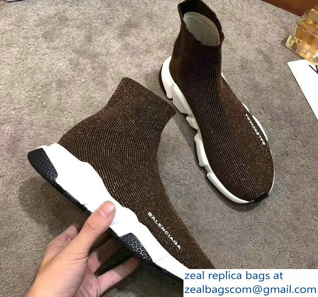 Balenciaga Knit Sock Speed Trainers Sneakers Line Coffee 2019