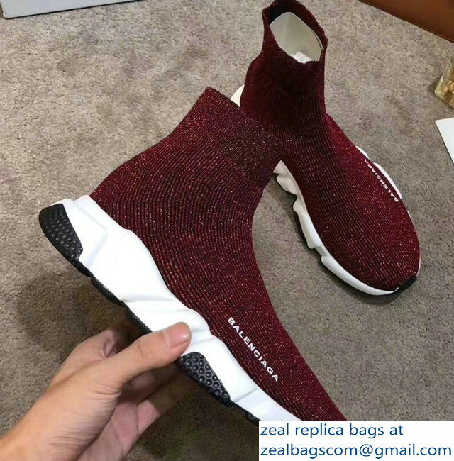 Balenciaga Knit Sock Speed Trainers Sneakers Line Date Red 2019